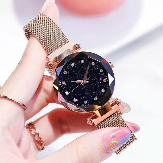 Lote C/ 10 Relógios Feminino Céu Estrelado + Braceletes + Cx