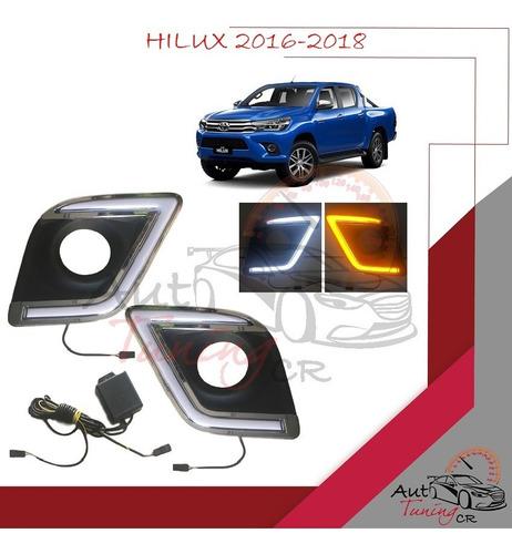 Cobertores Led Drl Y Direccional Toyota Hilux 2016-2018