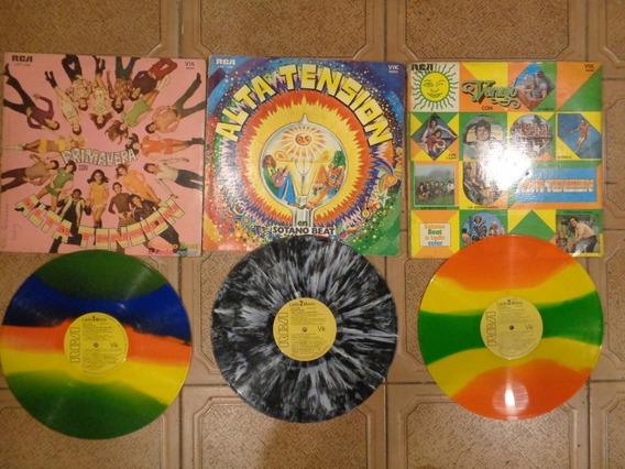Lote 3 Discos Vinilo Lp Color P/ Decoración O Escuchar