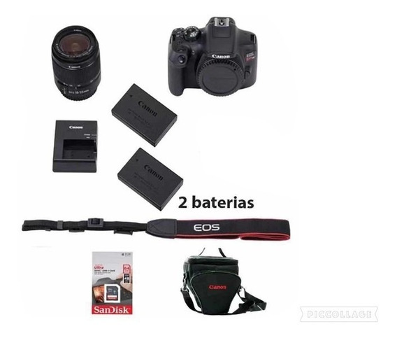 Canon Rebel T7i C/ 18-55mm +64gb + Bolsa + Tripé+ Bat. Extra