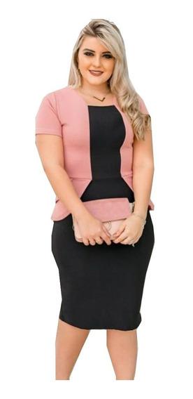 Vestido Feminino Tubinho Blazer Sobreposto Moda Evangélica