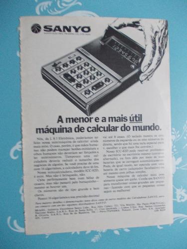 Propaganda Vintage - Sanyo. Máquina De Calcular. A Menor...
