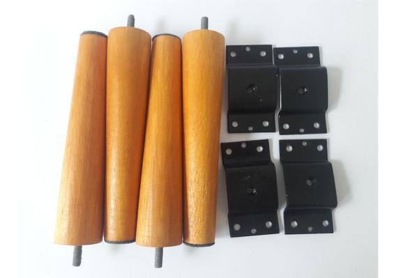 Kit 4 Pés Palito 15cm Mel +4 Adaptador Para Inclinar Os Pés