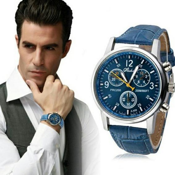 Relógio Pulseira De Couro Azul Fundo Azul