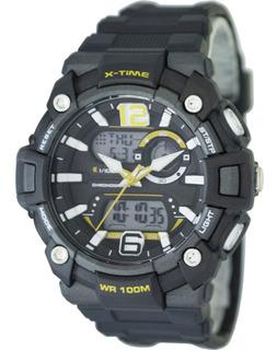 Reloj Hombre Digital Dualtime Sumergible Amarillo X-time 022