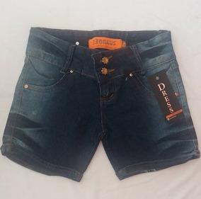 Shorts Jeans Feminino Couro Bolso Dress