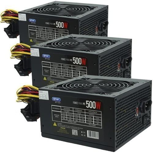 Kit 3 Fontes Para Pc Knup 500w - Kp-522