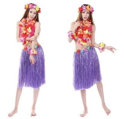 Kit 4 Saia De Havaiana 60 Cm Diversas Cores Para Carnaval