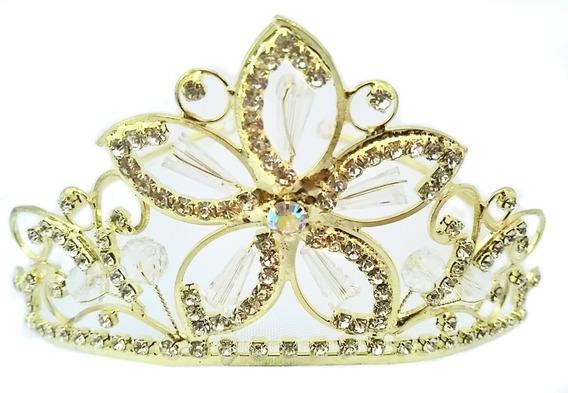 Tocado, Tiara, Corona, Fino Cristal, Xv Años, Reina, Princesa. Dorada. Chi 73