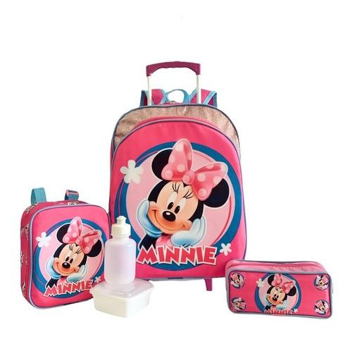 Imagem 1 de 10 de Kit Mochila Infantil Minnie Mouse Lisa M Rodinhas Menina F5