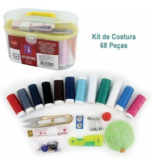 Kit De Costura Com 68 Itens Na Maletinha Clink Ck1421