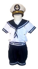 Fantasia Infantil Marinheiro Almirante Capitão Com Chapéu