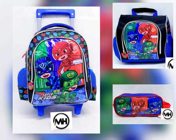 Kit Mochila De Rodinha Escolar Infantil P Super Kids 3itens