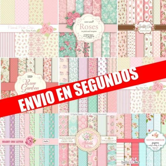 Kit Imprimible Pack De Fondos Shabby Chic 300 Dpi Clipart