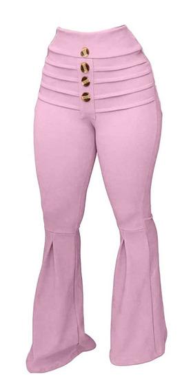 Calca Feminina Cintura Alta Social Pantalona Executiva Lycra