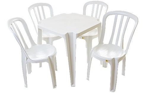 Jogo De Mesa Com 4 Cadeiras Bistrô Sem Braço Sup. 82 Klg