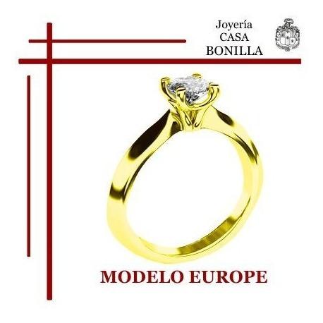 Anillo Compromiso Oro Amarillo 18k Diamante Grafito Certific