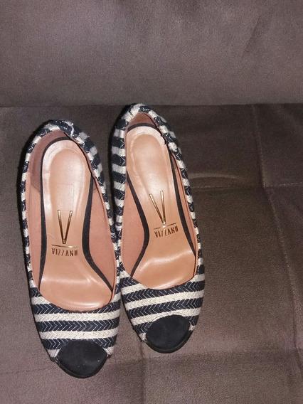 Sapato Salto Alto Vizzano N°36 Listras Glamour