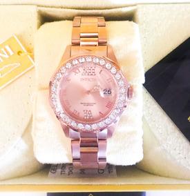 Relógio Invicta Feminino 15252 Crystal Original Rosa Dourado