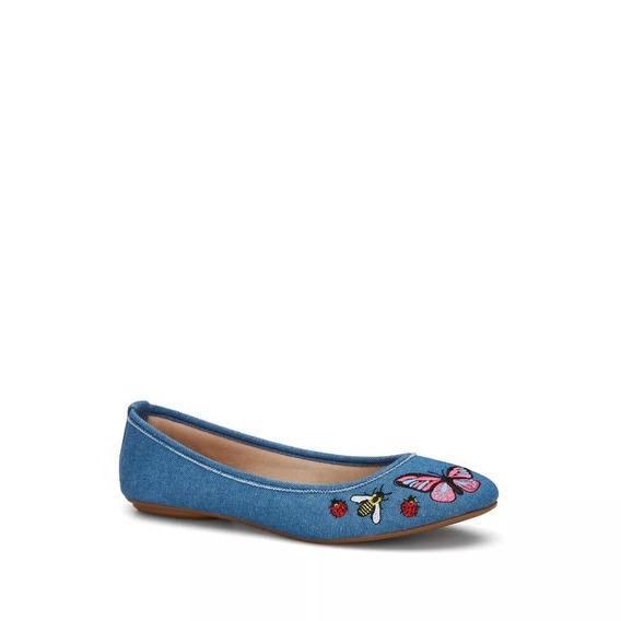 Oferta, Zapato Azul Tipo Mezclilla, Flat Ballerina,, Andrea