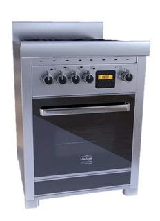 Cocina Morelli Vintage Touch 600 4 hornallas a gas/eléctrica negra 220V puerta visor