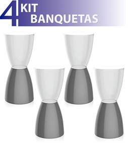 Kit 4 Banquetas Bery Assento Cristal Base Color Cinza
