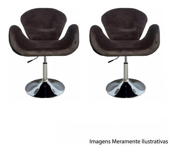 Kit 2 Poltronas Tulipa Marrom Suede Giratória Designer Decoração Escritório Consultório Recepção Sala Lounge Et9106-1m