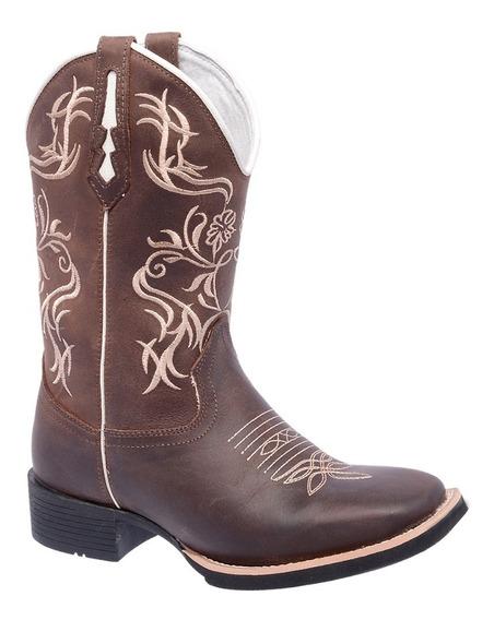 Bota Texana Feminina Bege Couro Quadrada Bordada Linda Top
