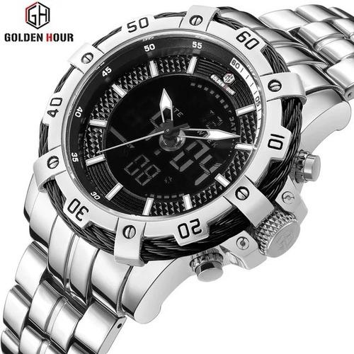 Relógio Masculino Golden Hour 121 Aço Prata