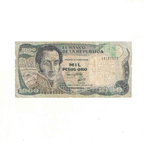 Imagen 1 de 2 de Billete De 1000 Pesos Oro De Colombia Con Envio Gratuito