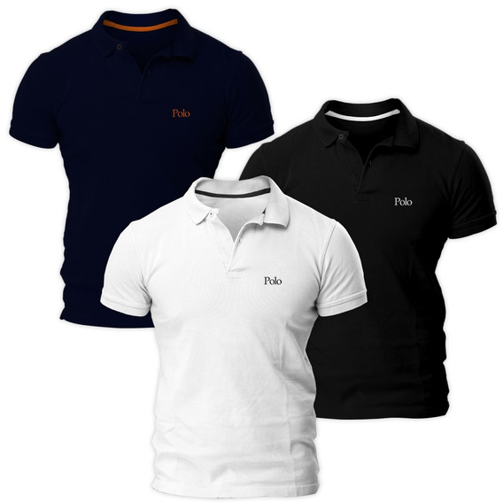 Kit Com Três Camisas Polo Básica Piquet Regular - Polo Match