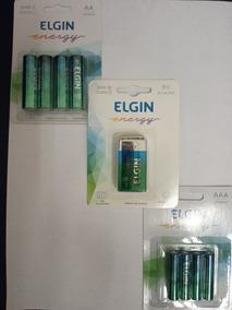 Bateria Elgin 9 Volts + 4 Pilhas Médias + 4 Pilhas Pequenas