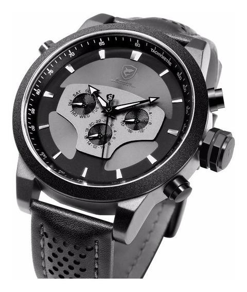 Relógio Shark Militar Couro. Promoção 12x - Frete Grátis
