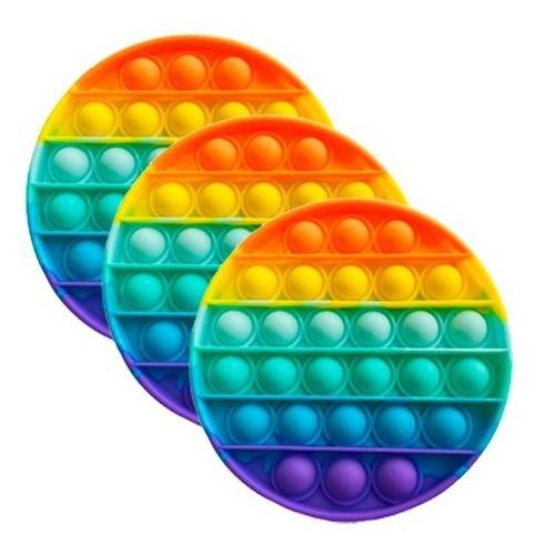Imagem 1 de 3 de Kit 3 Pop It Redondo Fidget Toy Sensorial Colorido Promoção