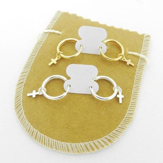Brinco Masculino 13mm 2pares Folheado Ouro/prata Br252