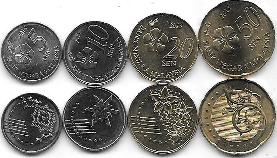 4 Monedas Malasia 5, 10, 20 Y 50 Sen Año 2013 Sin Circular