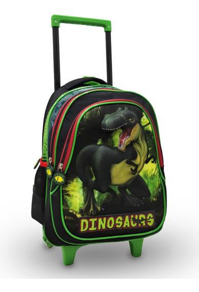 Mochila Rodinhas Escola Infantil Dinossauro Menino Reforçada