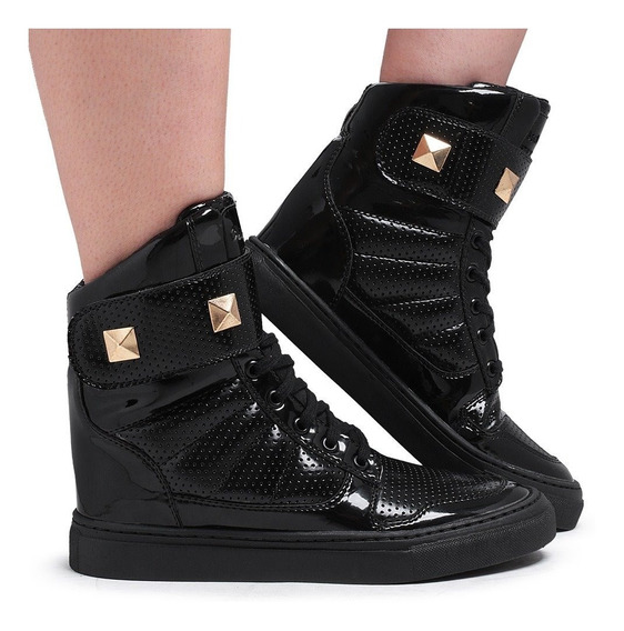 Tênis Academia Cano Alto Feminino Couro Sneakers New Verniz