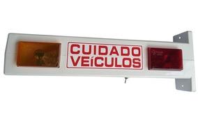 Sinalizador Cuidado Veiculos 110/220v P/ Portão Aut C/ Bip