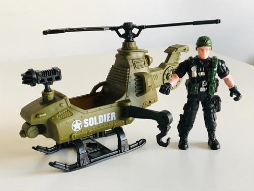 Imagen 1 de 7 de Helicoptero Con Soldado De Guerra Figura Accion Articulado