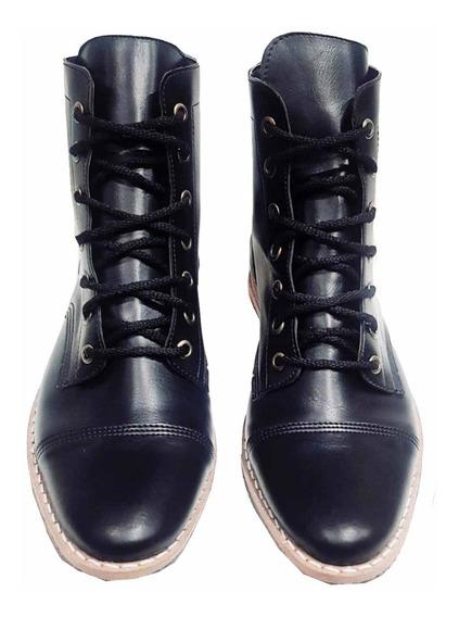 Customs Ba Borcego Mujer Cuero Eco Bota Zapato B