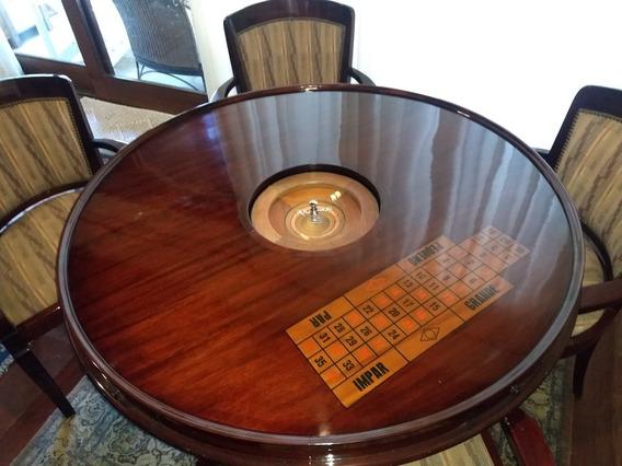 Mesa Redonda Mogno 4 Cadeiras Pra Chá Da Tarde Ou Jogos.