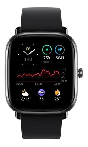 "Smartwatch Amazfit Fashion GTS 2 Mini 1.55"" caixa de  liga de alumínio pulseira  midnight black de  silicone A2018"