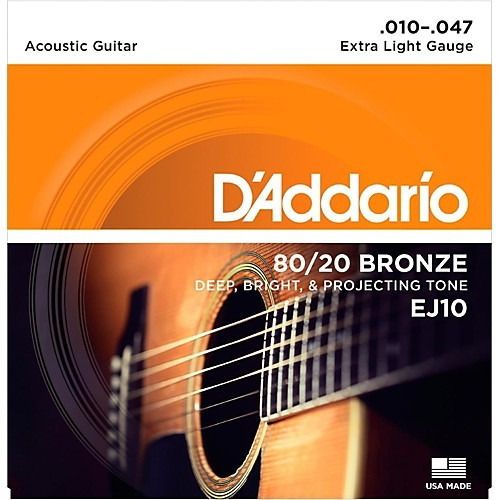Encordado Para Guitarra Acústica Daddario Ej10 Bronce 10-47