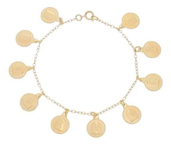 Pulseira Medalhas 10 Mandamentos Romanos Banhada À Ouro P17