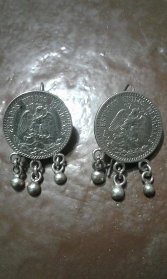 Par Aretes Antiguos De Plata Moneda Resplandor 20 Centavos