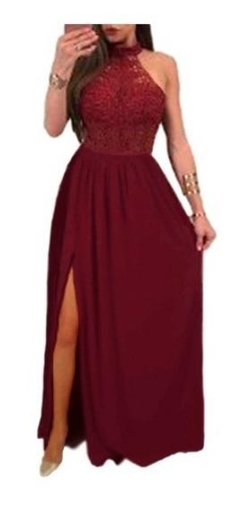 Hermoso Vestido De Fiesta/ Noche Con Tajo Combinado