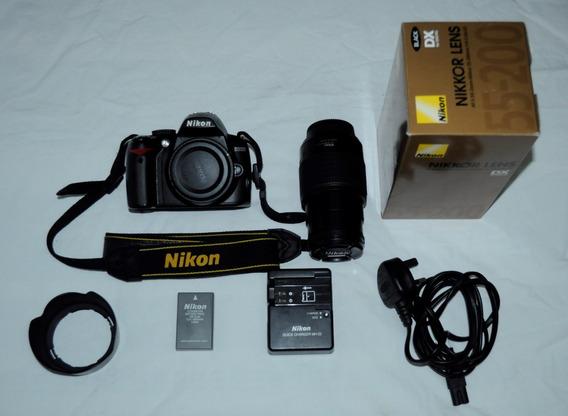 Câmera Dslr Nikon D3000 E Lente Nikon 55-200mm