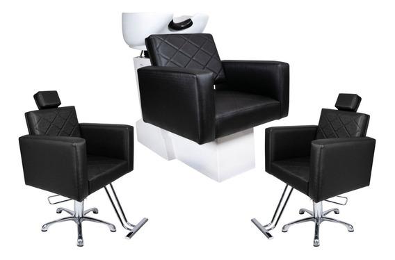 Evidence - 1 Lavatório + 2 Cadeiras Fixas Para Salão
