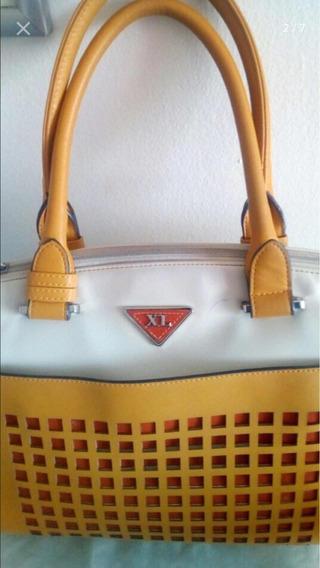 Cartera De Mano Xl Amarilla Blanca Y Naranja Casi Nueva 112